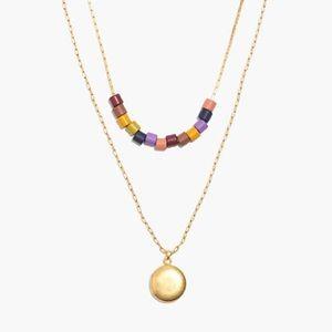 Madewell Rainbow Beaded Locket Necklace Set